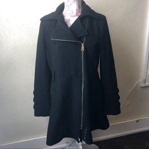 Bebe Asymmetrical Wool Full Skirted Coat L Black